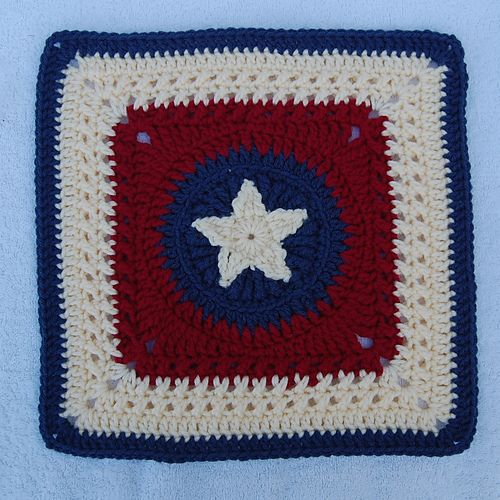 Emalahowskis Patriotic Star Square Texas Style Afghans