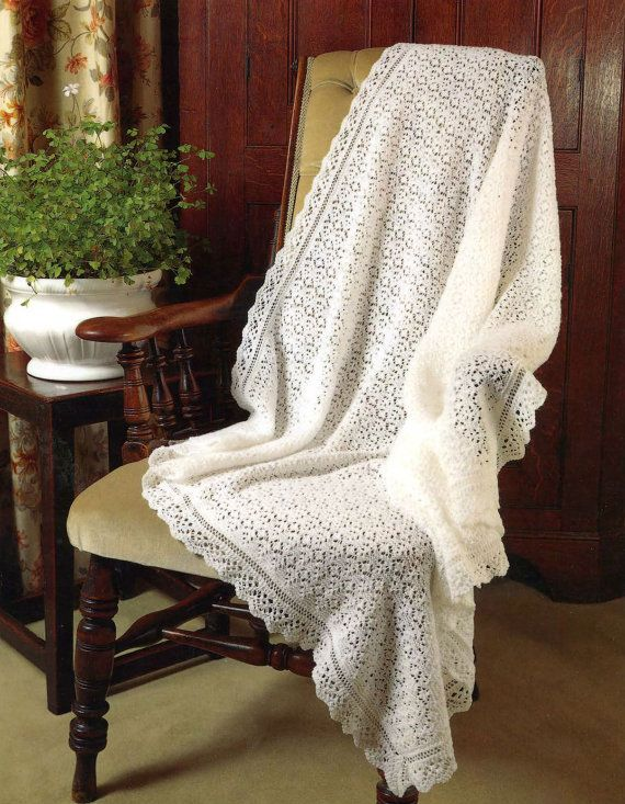 be72336d9 Knit Baby Shawl Vintage Knitting Pattern 3 ply baby blanket pram ...