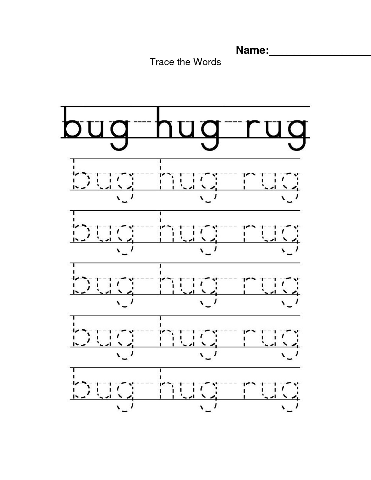 Name Trace Worksheets In