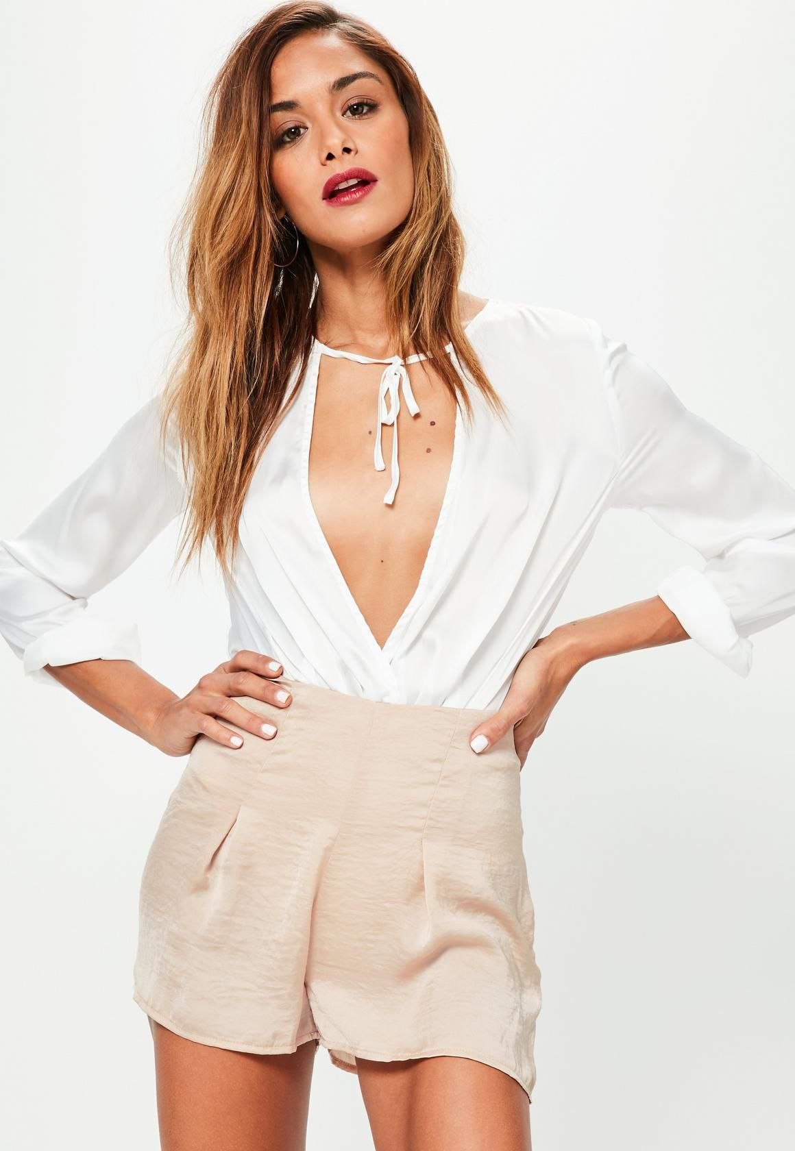 Missguided nude pleated front hammered satin shorts style