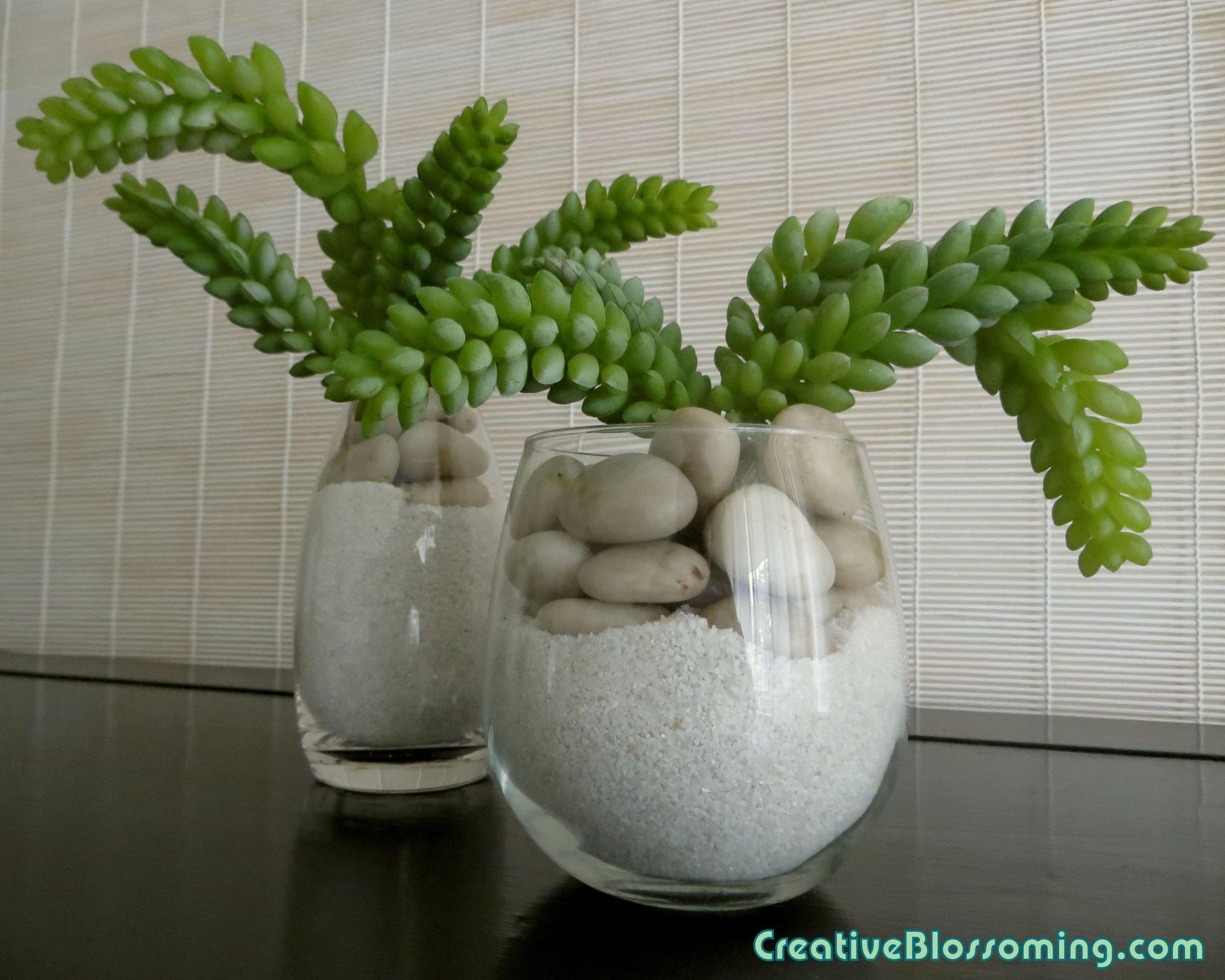 Artificial succulent arrangement cacti sand rock glass vase ...