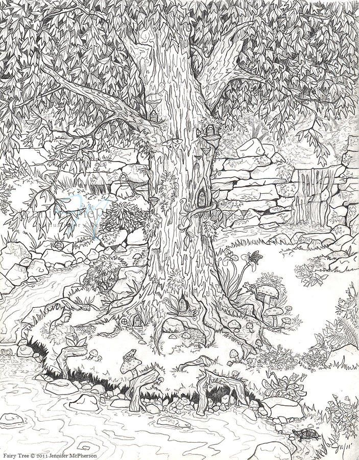 FAIRY GARDEN COLORING PAGE. For the little ones and grown