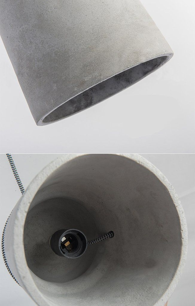 Pendant Light Cord Wrap : Concrete cord wrapped monolith minimalist pendant light