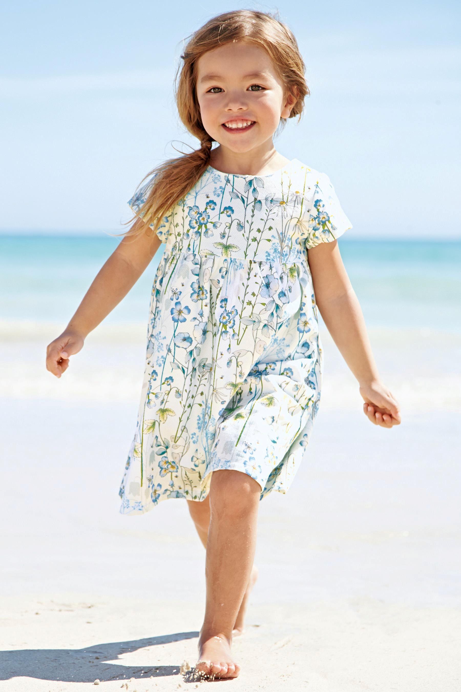 Kaufen Sie Strukturiertes Kleid mit Blumenmuster, blau (3 Monate – 6 ...