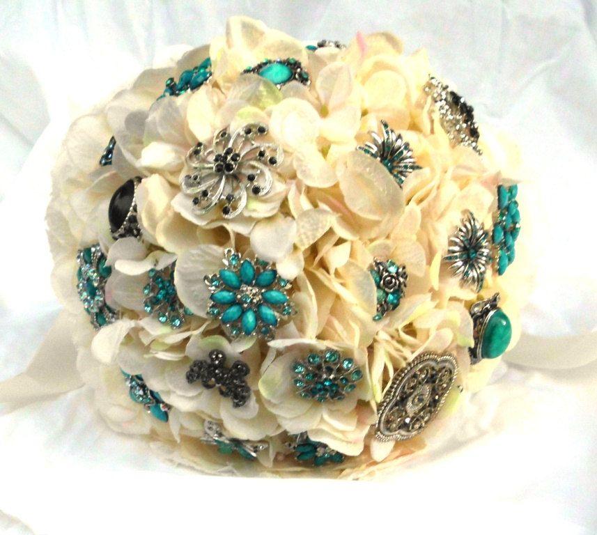 Custom Brooch Wedding Bouquet, Bridal, Rhinestones Crystals Fabric Flower Bouquet, weddings.  via Etsy.