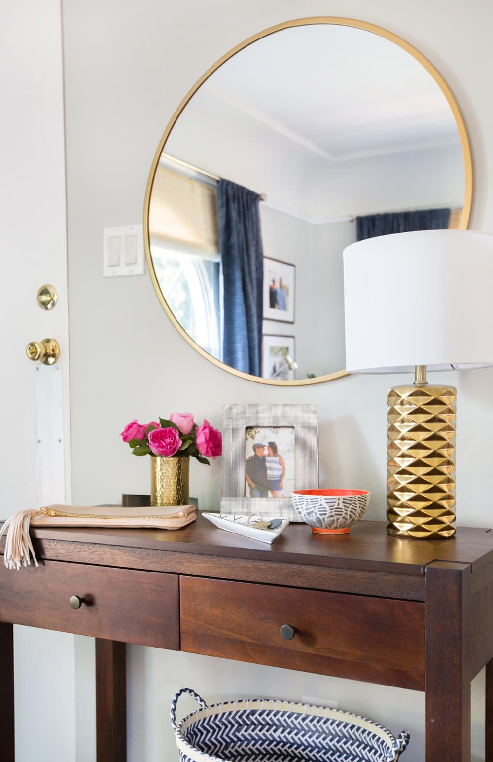 Emily Henderson_target_makeover_nanny  Suprise_happy_modern_traditional_eclectic_makeover_blue_pink_living  Room_14 Entryway Tablesentryway