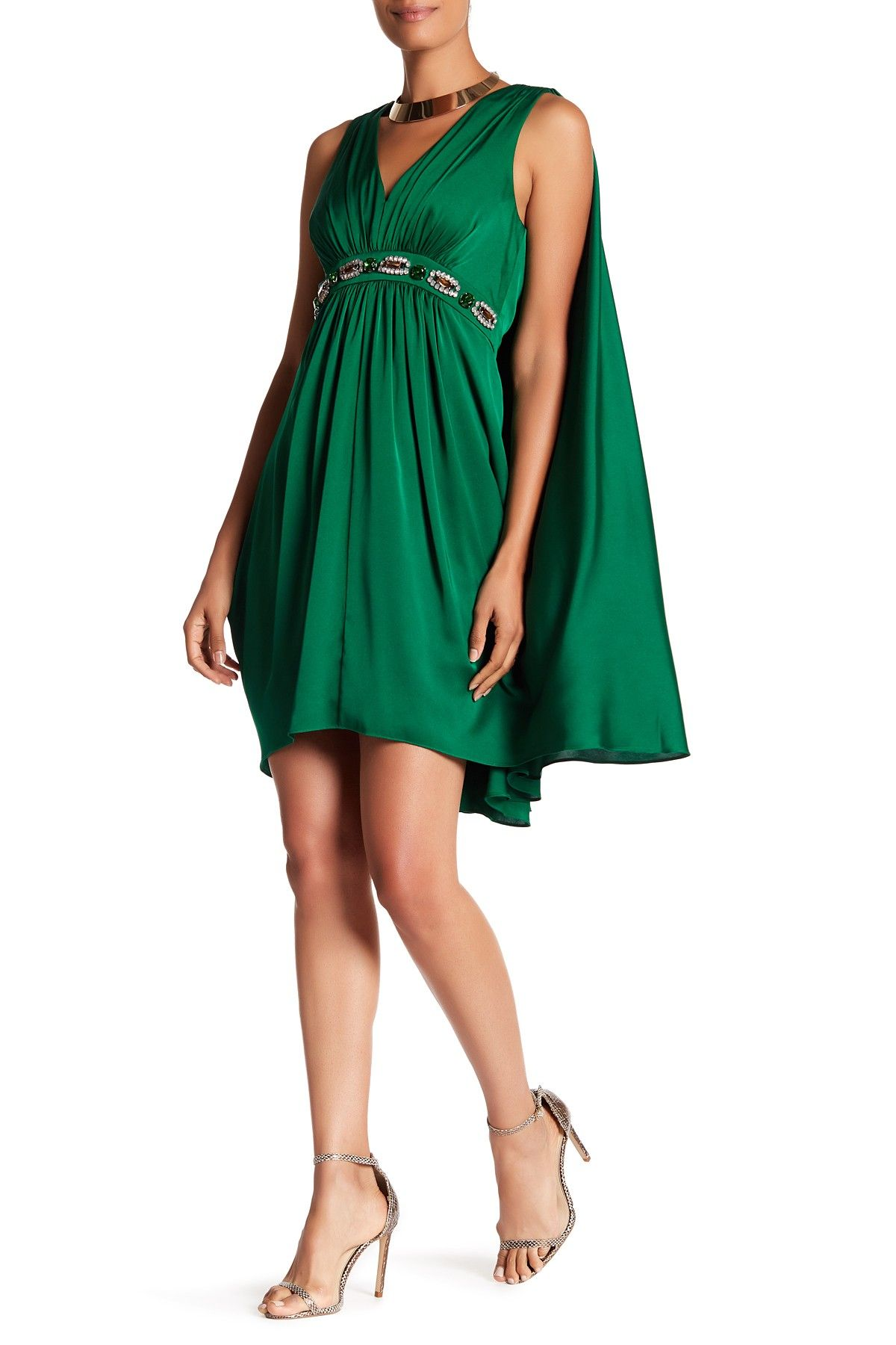 Emerald green dress for women  Trina Turk  Prestige Embellished Cape Sleeve Dress  Products