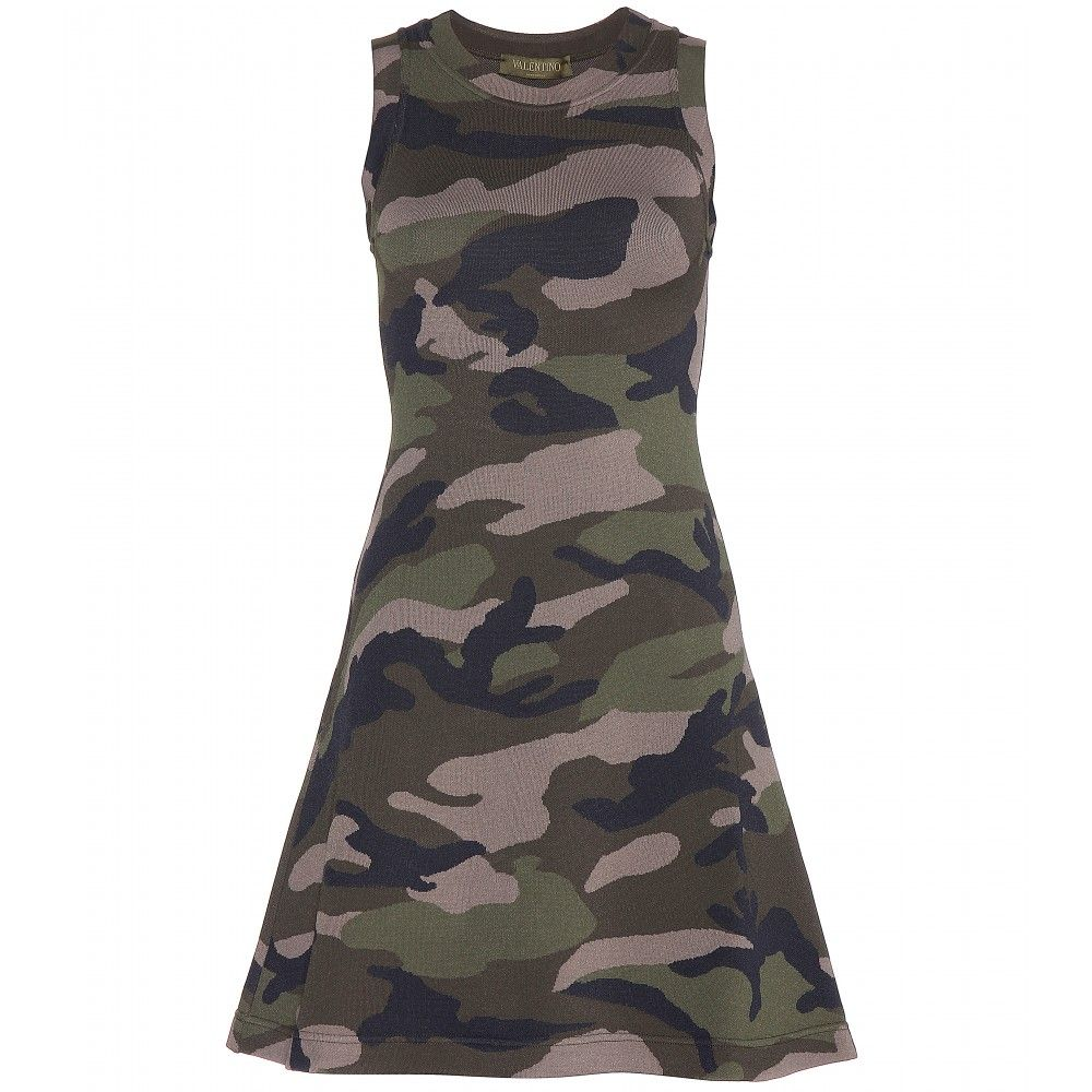 Valentino printed jersey dress army camouflage pinterest