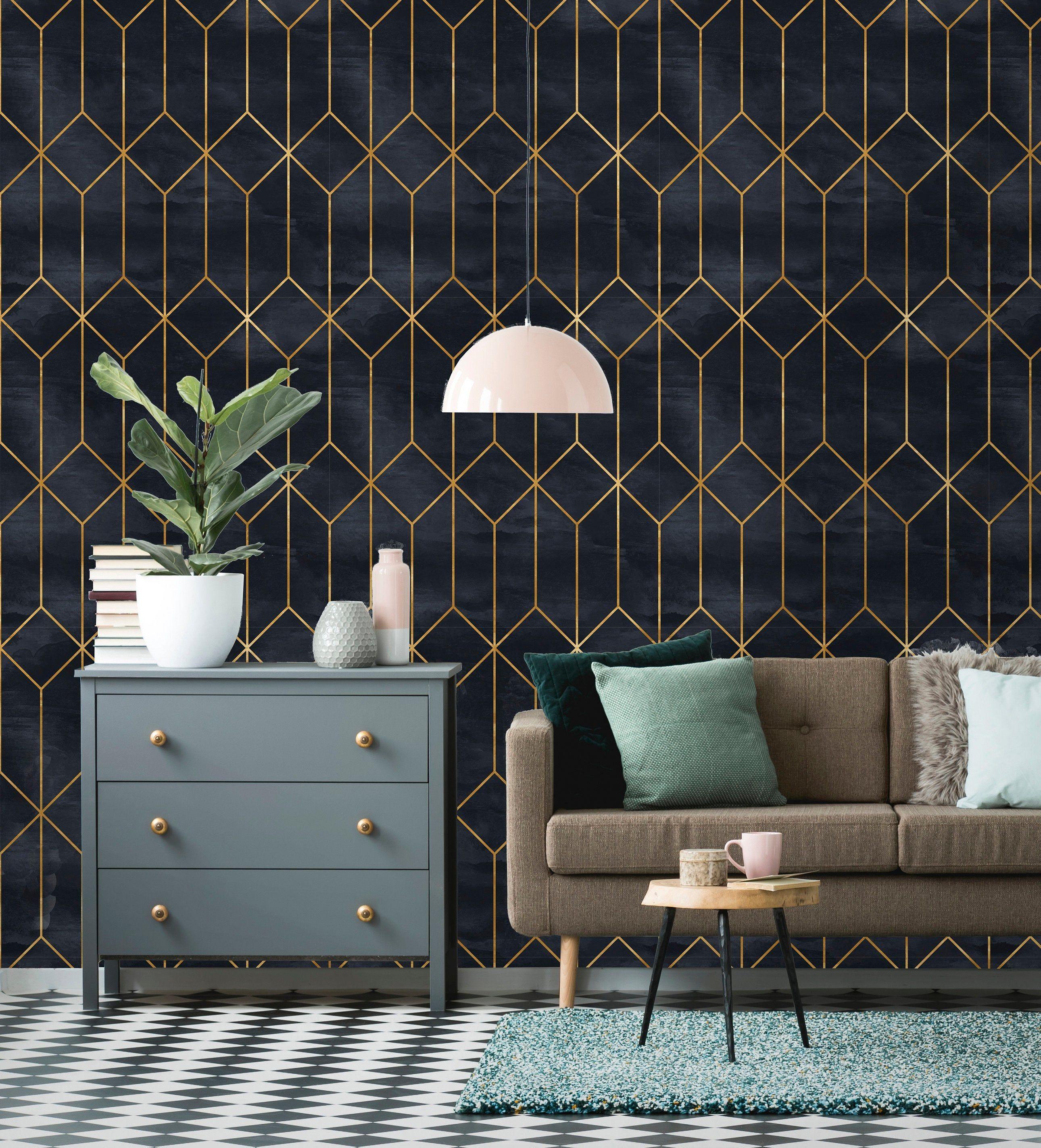 Removable Wallpaper Peel And Stick Geometric Wallpaper Etsy Art Deco Wallpaper Interior Deco Art Deco Interior
