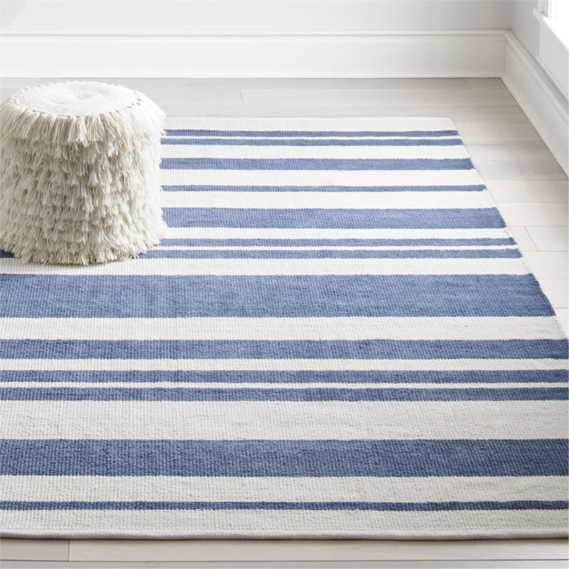 Shop Barcode Blue Striped Rug The Varying Sized Bars On This Woven Striped Rug Won T Scan At Checkout Bu Blue Striped Rug Stripe Rug Living Room Striped Rug