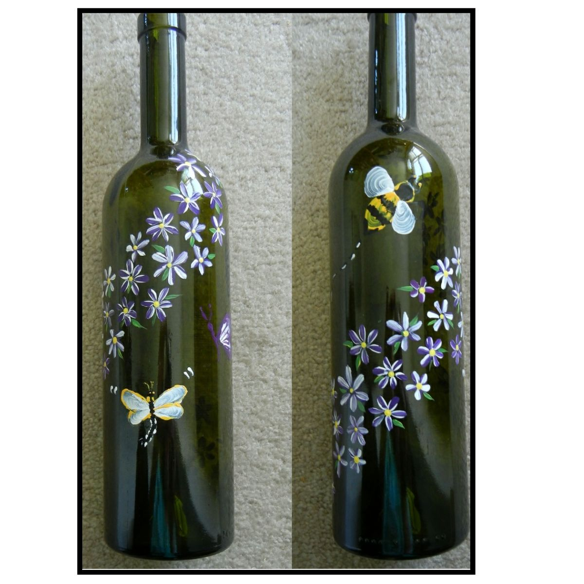 One stroke painting hand painted wine bottles one for Paint bottles with tips