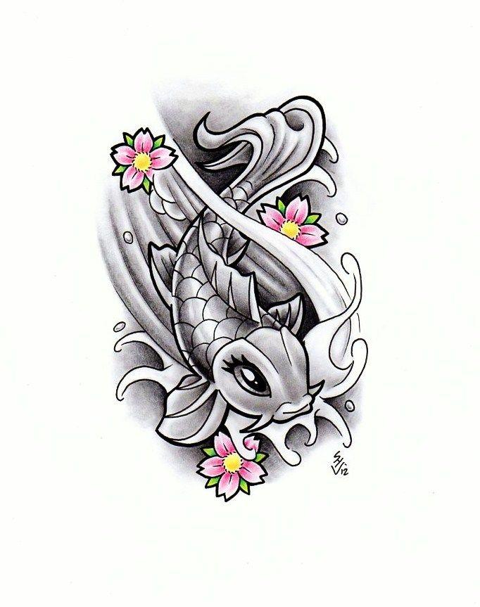 Girly Koi Fish Design Koi Fish Designs Koi Tattoo Sleeve Body Art Tattoos