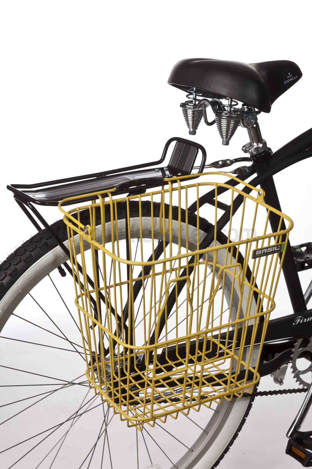 Basil Memories Bottle Rear Basket Yellow With Images Bike