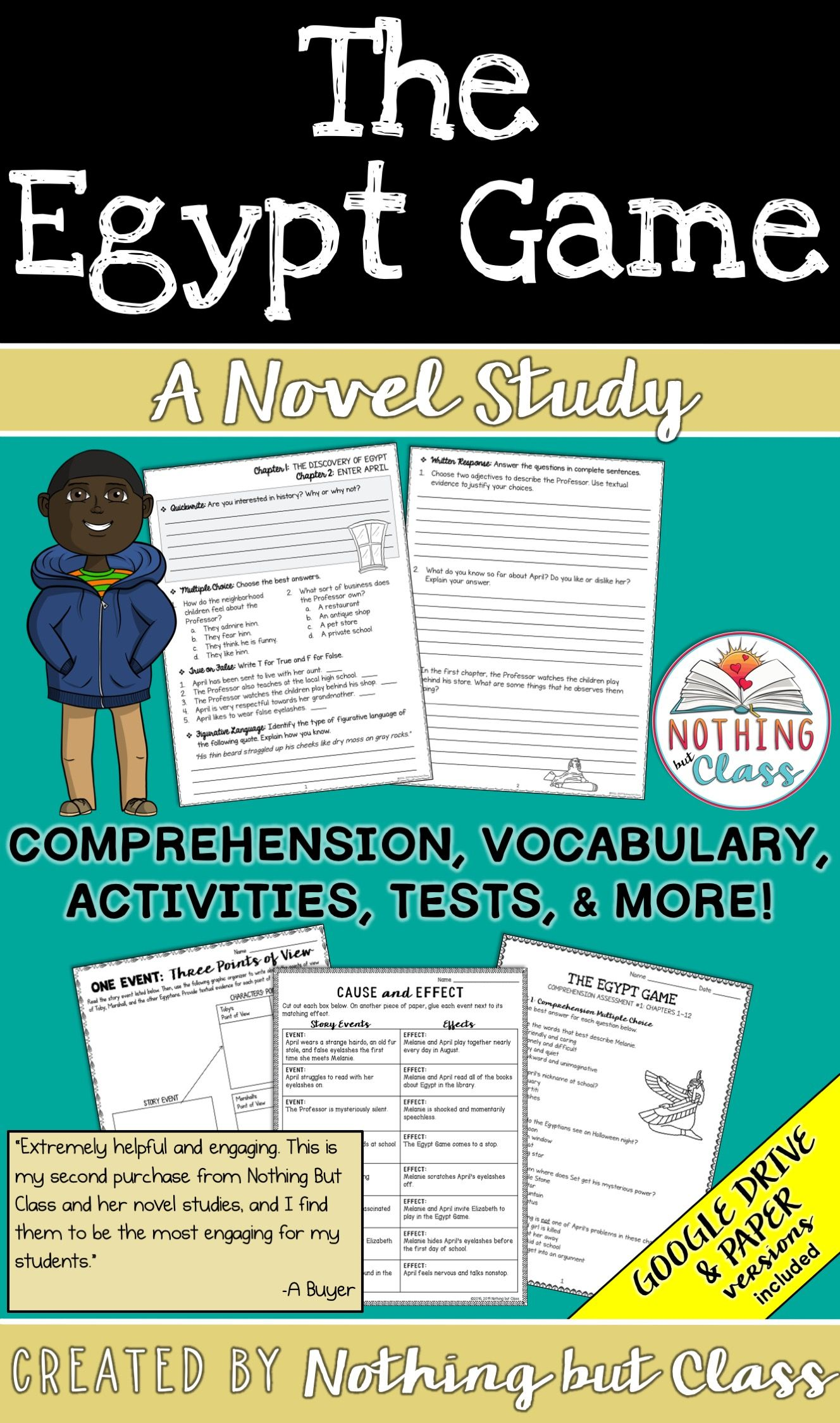 The Egypt Game Novel Study Unit Comprehension Vocabulary