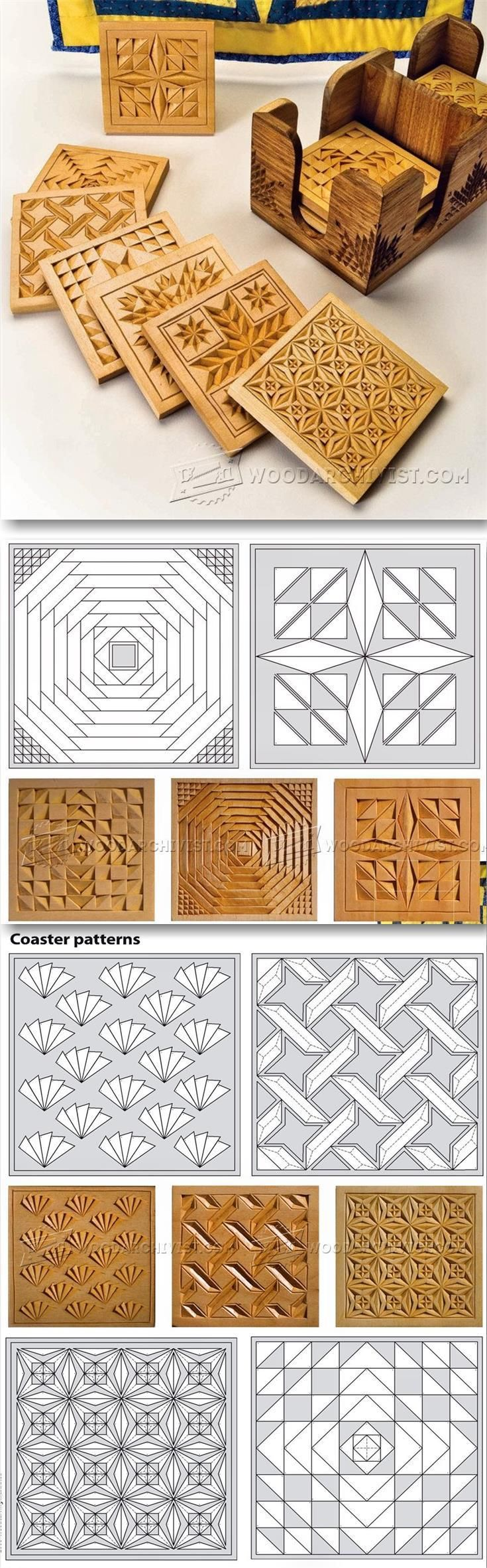 Coasters chip carving patterns wood carving patterns and