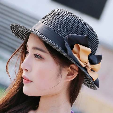 Sweet bow straw hat crimping design sun beach hats for girls