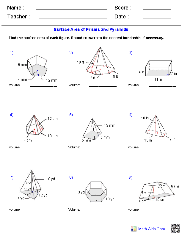Prisms And Pyramids Volume Worksheets Geometry Pinterest