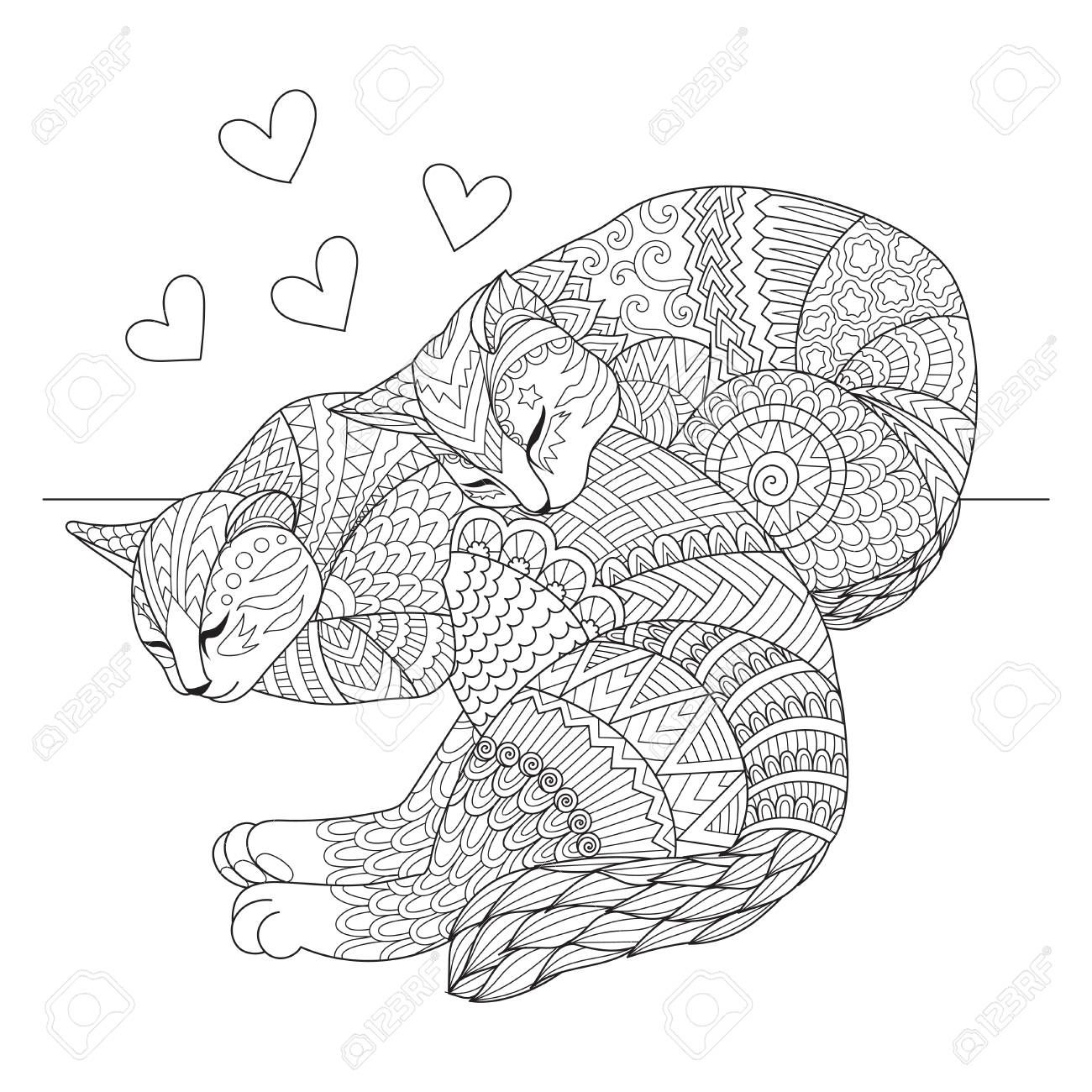 Cute two cats sleeping for cards t shirt design adult coloring book coloring page and print on other things Vector illustration Illustration
