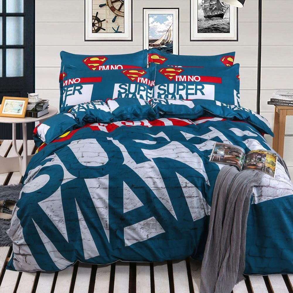 2016 New Super Man Kids Bedding Set Comforter 3d Bed Linen Owl Bed