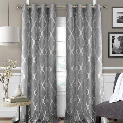 Charlton Home Styers Geometric Blackout Grommet Single Curtain