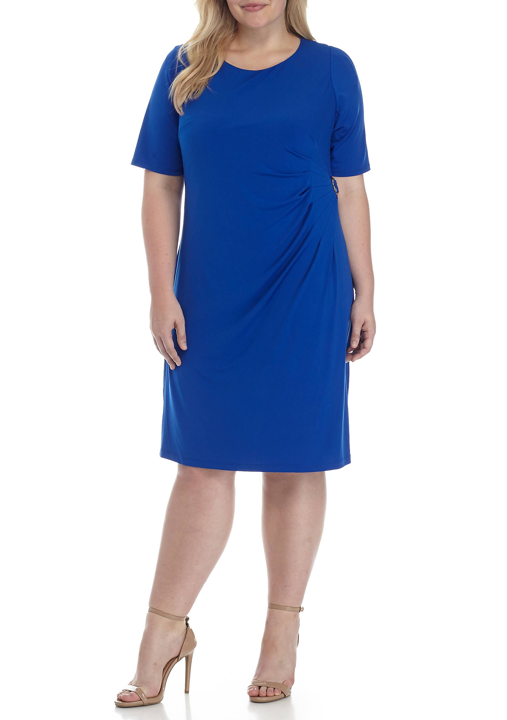 Jessica Howard Plus Size Side Ruched With Buckle Dress ...