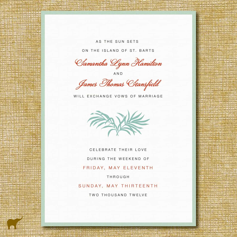 awesome Create Destination Wedding Invitation Wording Templates ...