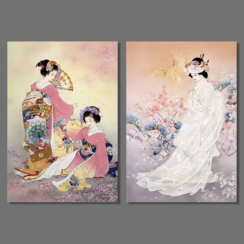 Japan Style Pictures Decoration Plum Flower Pink Kimono Lady