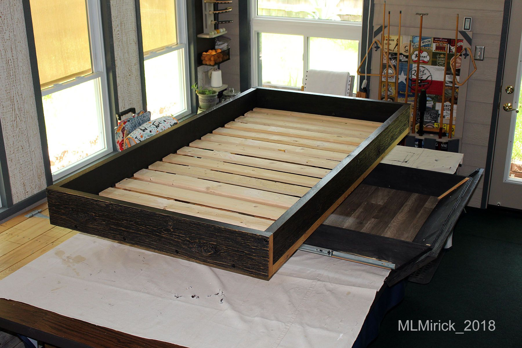 Floating Bed Frame With Drawer, Twin Size