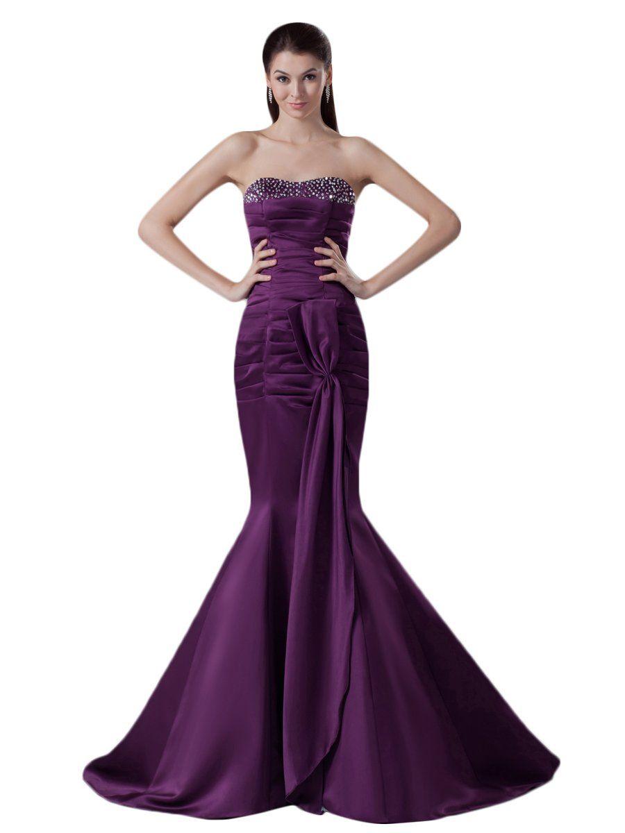Vampal dark purple strapless mermaid beaded neckline prom dress with