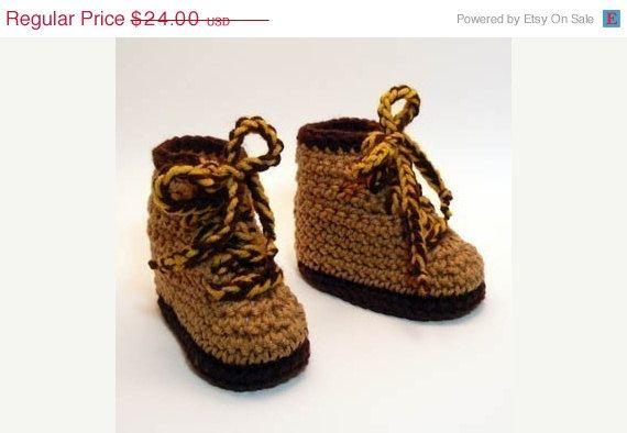 fdb381cd2139b Hiking Boots Crochet Baby Booties by HeathersTreasureBox | Crochet ...