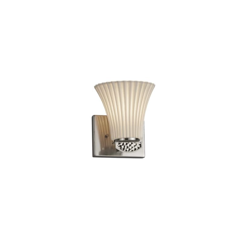 """Photo of Justice Design Group POR-8491-20-PLET Malleo 7 """"Tall Bathroom Sconce – with Plea Brushed Nickel Indoor Lighting Bathroom Fixtures Bathroom Sconce"""