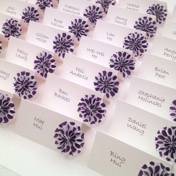 origami place cards polka dot wedding escort cards