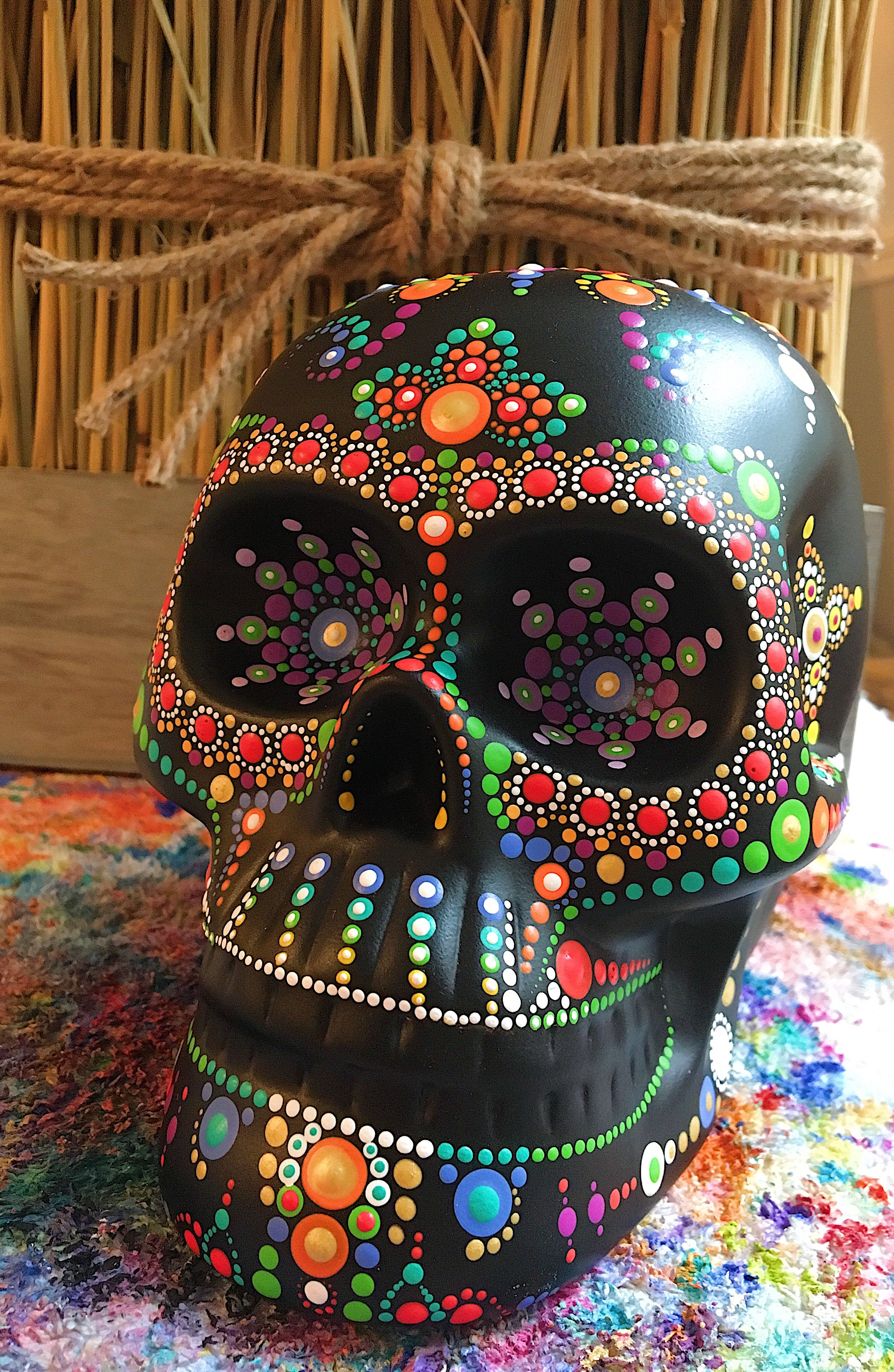 Painted Sugar Skull Dot Art Ceramic Skull Skull Decor Inspired Heart Art Inspiredheartart Sugar Skull Artwork Sugar Skull Painting Sugar Skull Art