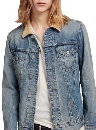1736129325 AllSaints Dexter Corduroy-Collar Denim Jacket | Products in 2019 ...
