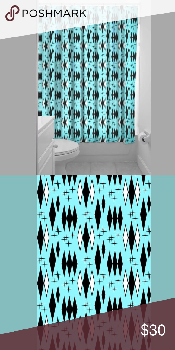 Sourpuss Retro Diamond Shower Curtain Turquoise Sourpuss