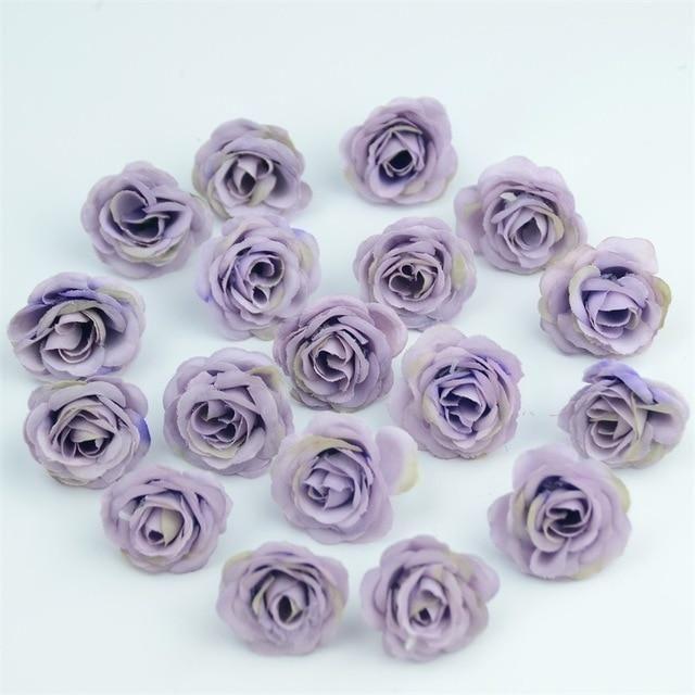 Photo of 10/50/100pcs 2.5cm Mini Silk Artificial Rose Flower Heads For Wedding Party Home Decoration – Light purple / 100pcs