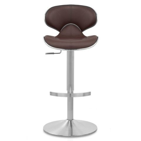 Deluxe Duo Leather Brushed Stool Brown Breakfast Bar Stool