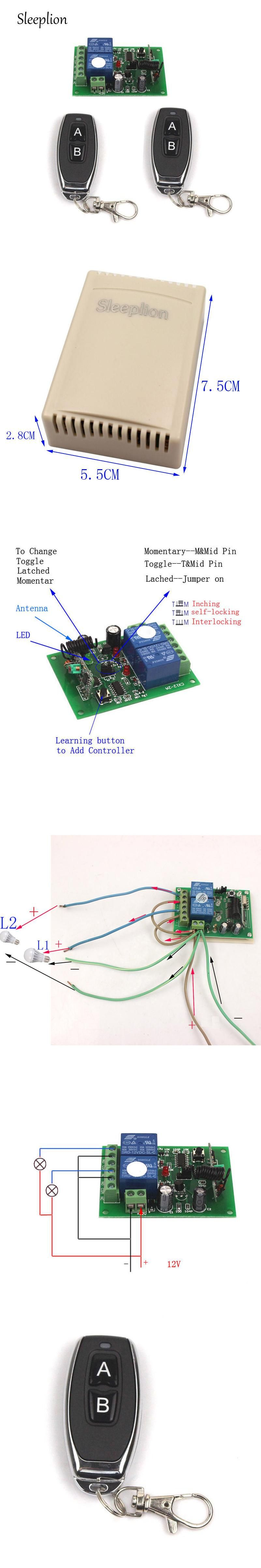 Sleeplion 12v 10a 2 Ch Channel Remote Control Switch Relay Wireless Motor Controller Transmitter Receiver Reverse