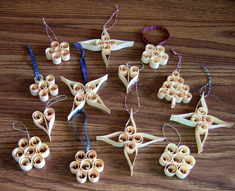 Scandinavian Wood Shaving Christmas Tree Ornaments Kit