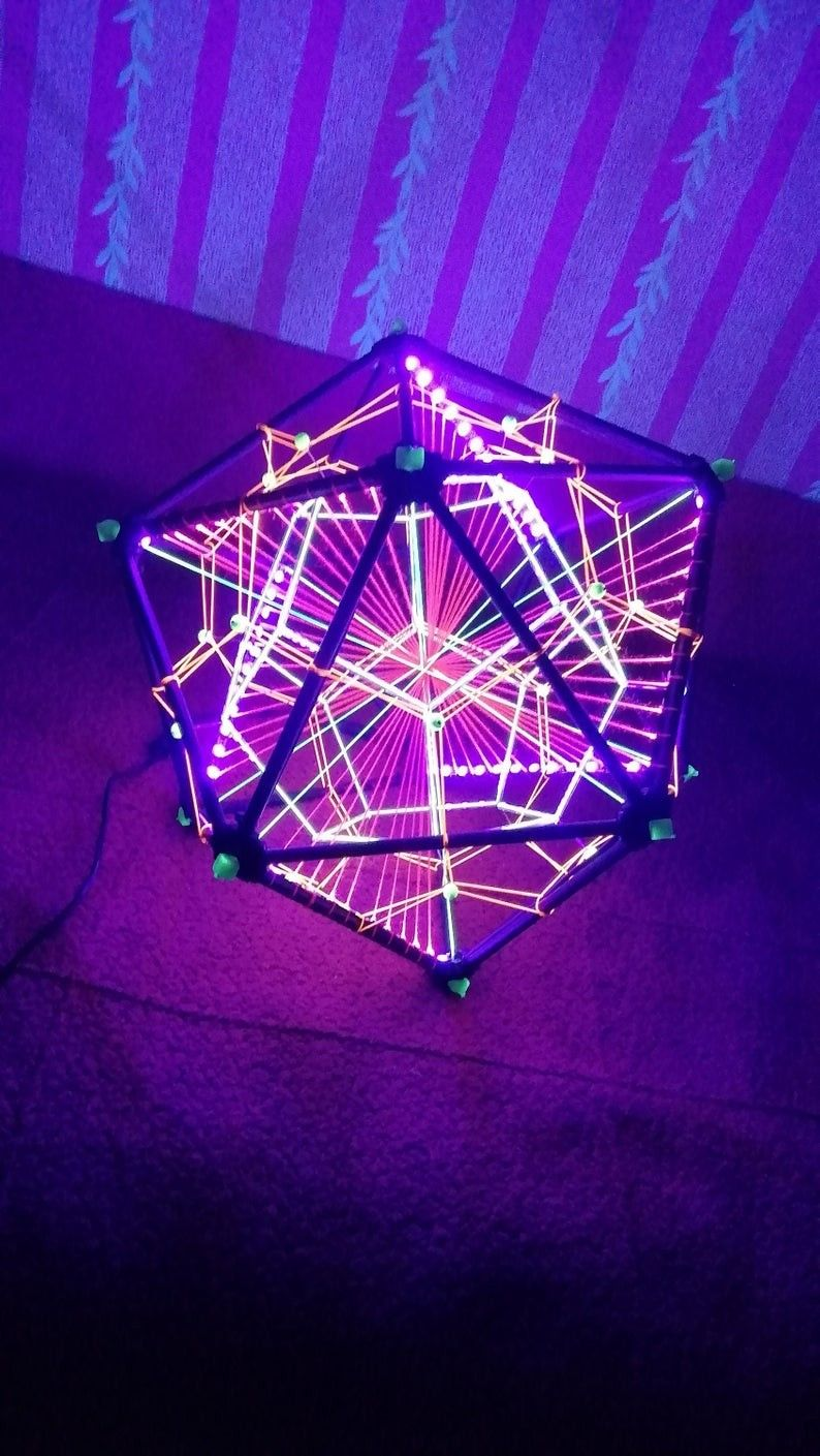 My New Work Black Light Led Icosahedron Decorative Art Object With Dodecahedron Inside Size 36 Cm Sacred Geometry Sacred Geometry Art Led Fluorescent