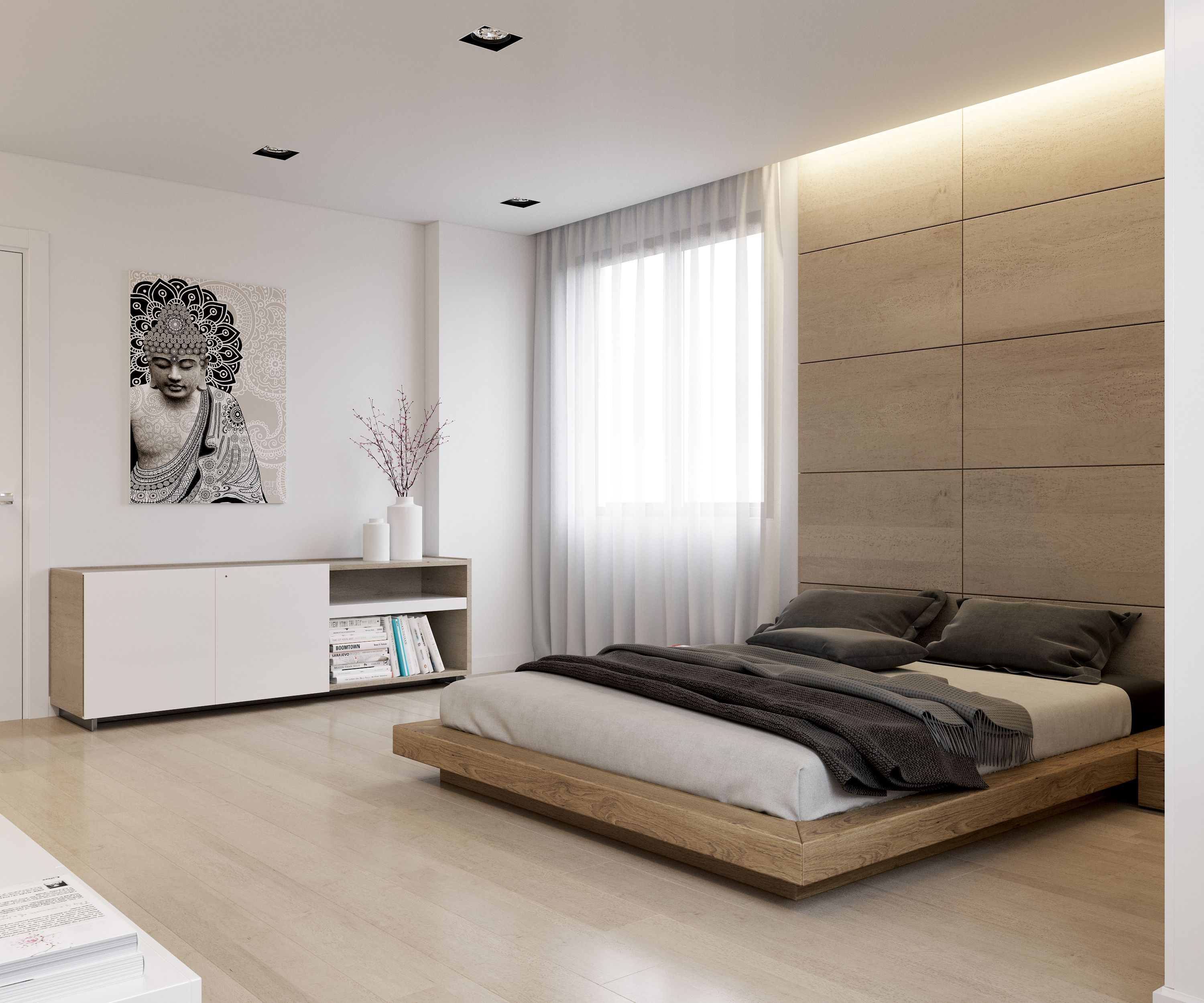 Modern bedroom rendering