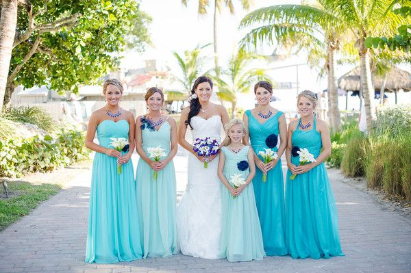 Beach Wedding Bridesmaids Dresses Idea Mix And Match Turquoise Mint Long Chiffon With Ivory Bouquets Palm Photography Inc