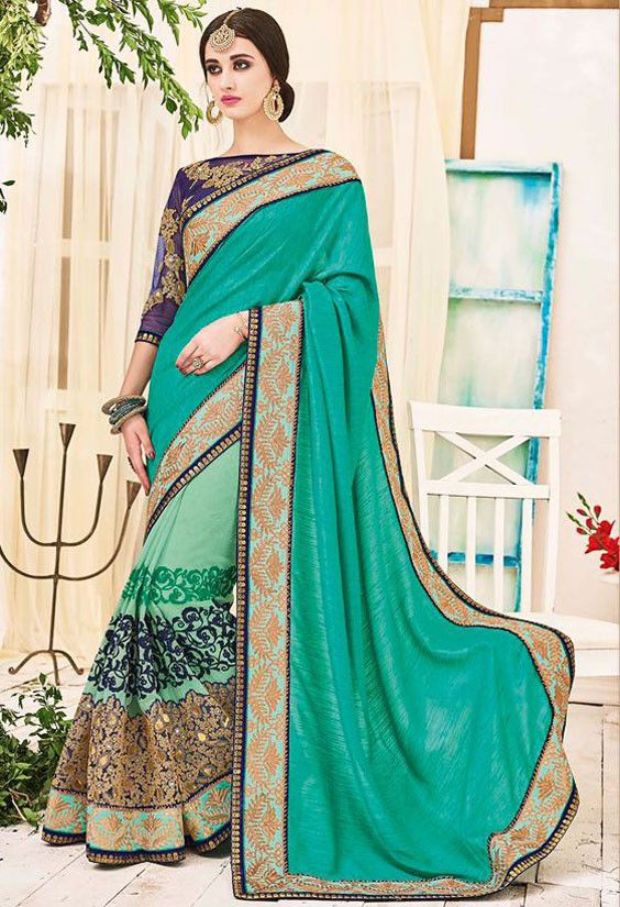 ae8c22c4a684a Plush Pastel Green and Rama Green Saree in 2019