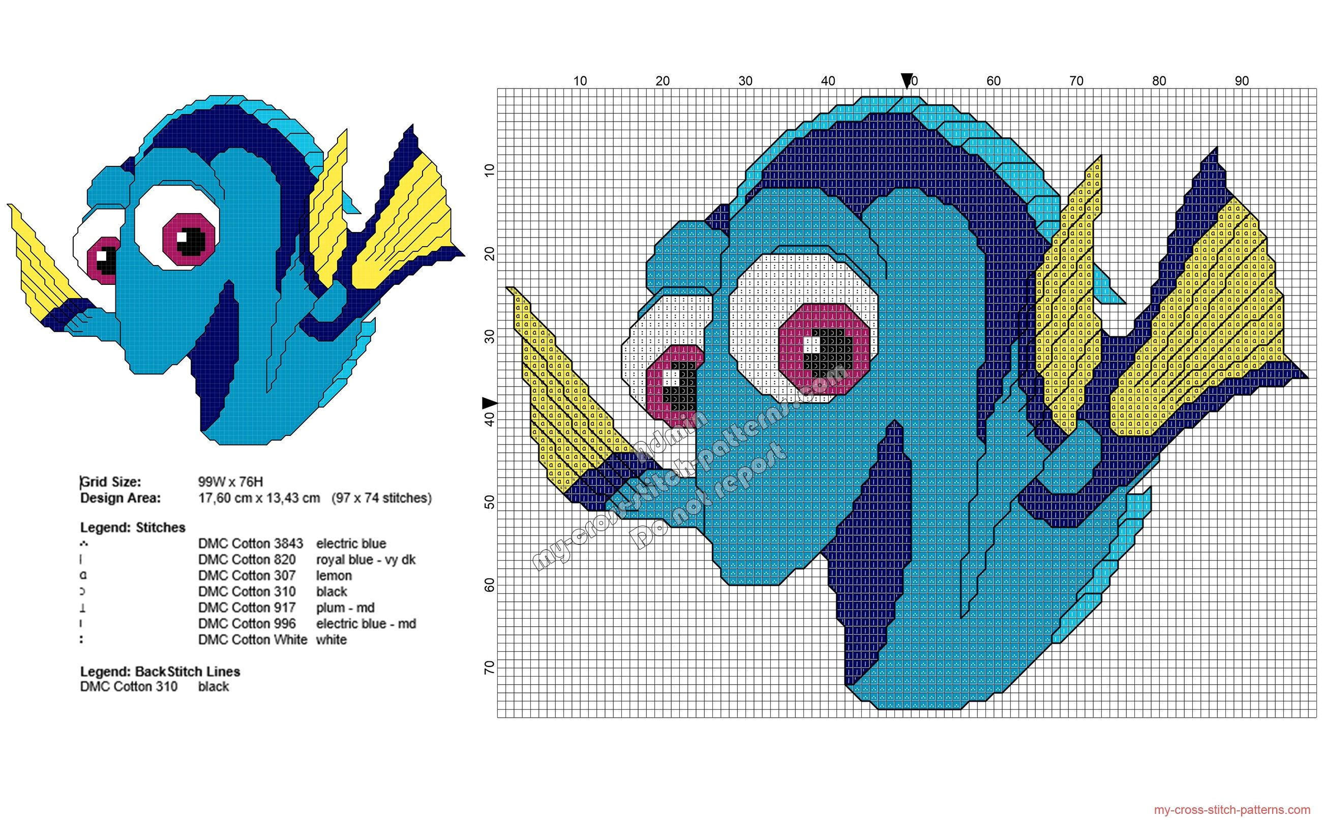 Disney finding dory free cross stitch pattern 97x74 for Immagini disney punto croce