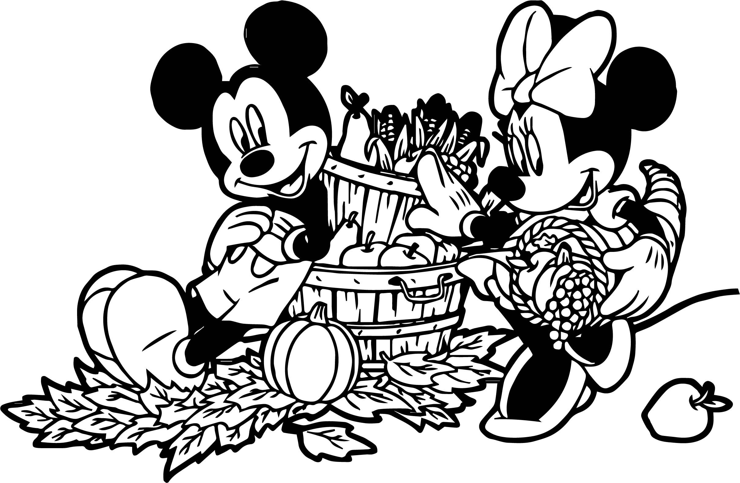 Cool Mickey Minnie Fall Bounty Coloring Page