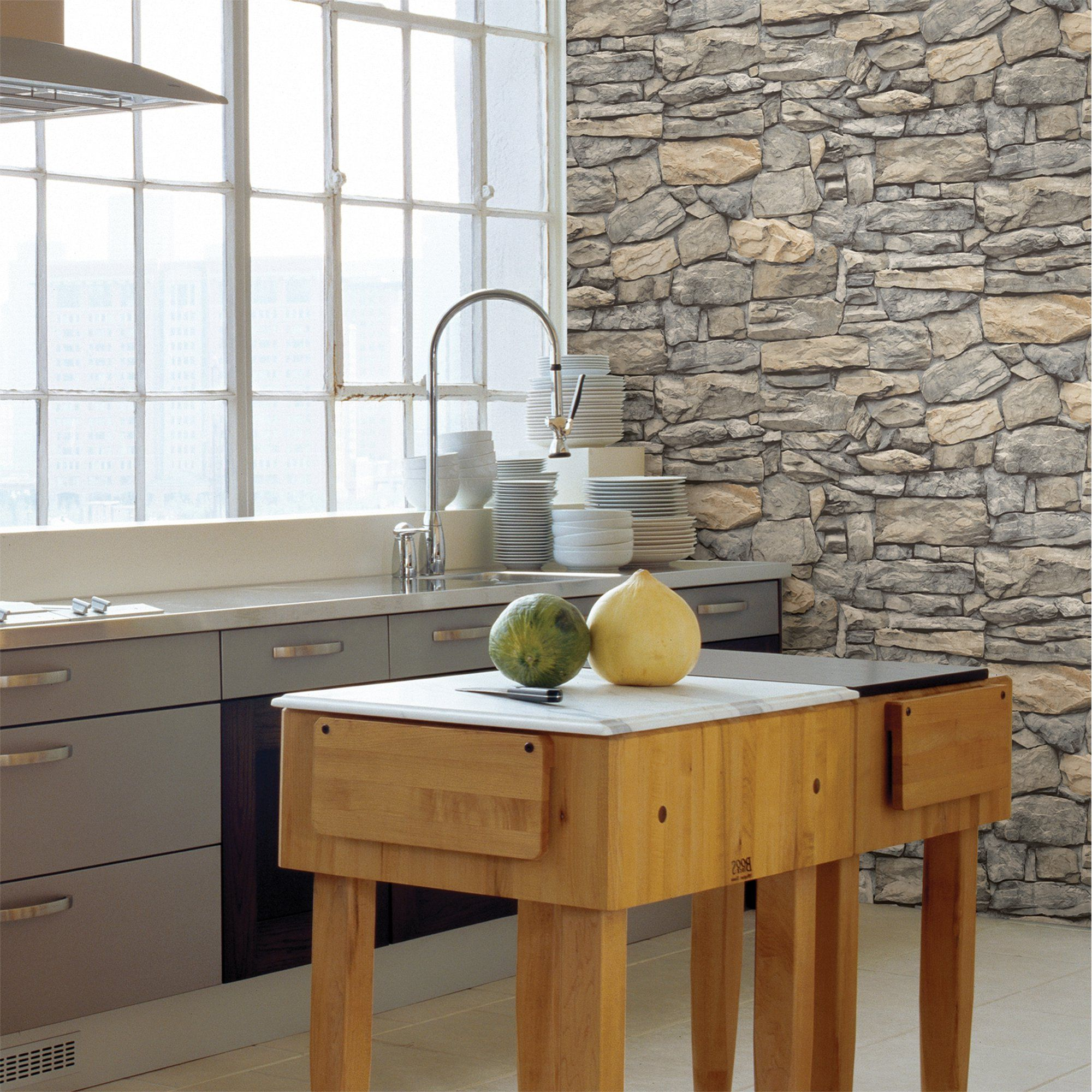 Inhome Kilkenny Stone Peel Stick Wallpaper Walmart Com In 2021 Peel And Stick Wallpaper Stone Wallpaper Stone Design