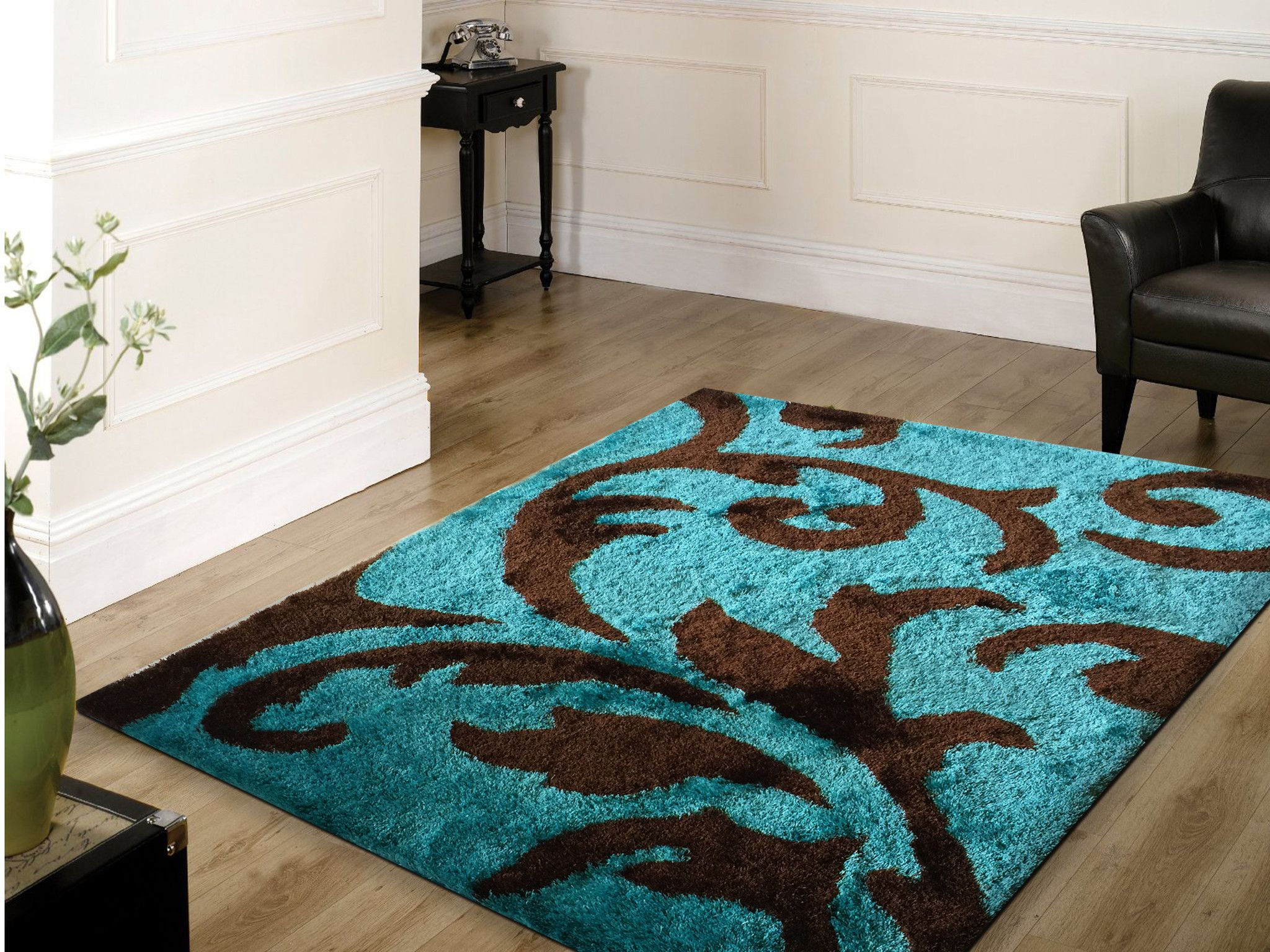 Soft Indoor Bedroom Shag Area Rug Brown with Turquoise | Indoor