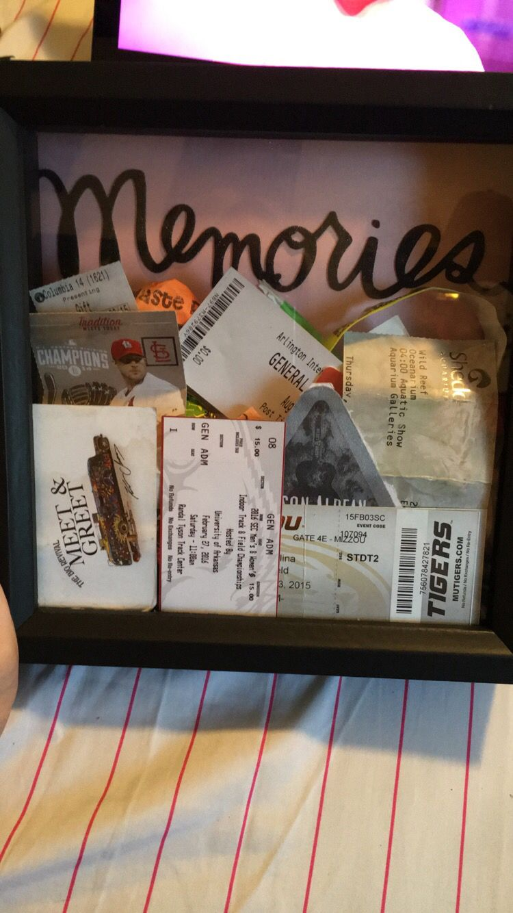 Ticket Stub Shadow Box Relationship Ideas College Boyfriend Gifts