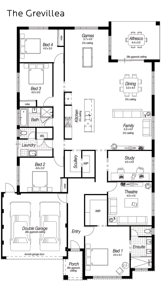 Single Storey House Designs Perth   The Grevillea   Ross North Homes