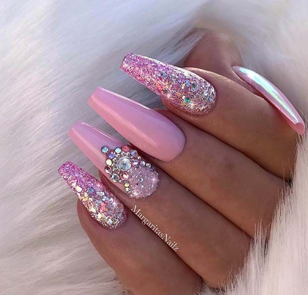 Pink, Glitter und Strass Nail Design für Sargnägel – #Design #für #Glitter #N… – Coffin nails designs